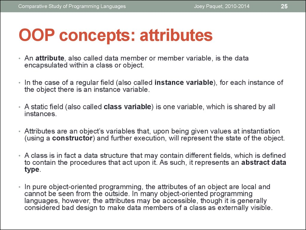OOP concepts: attributes