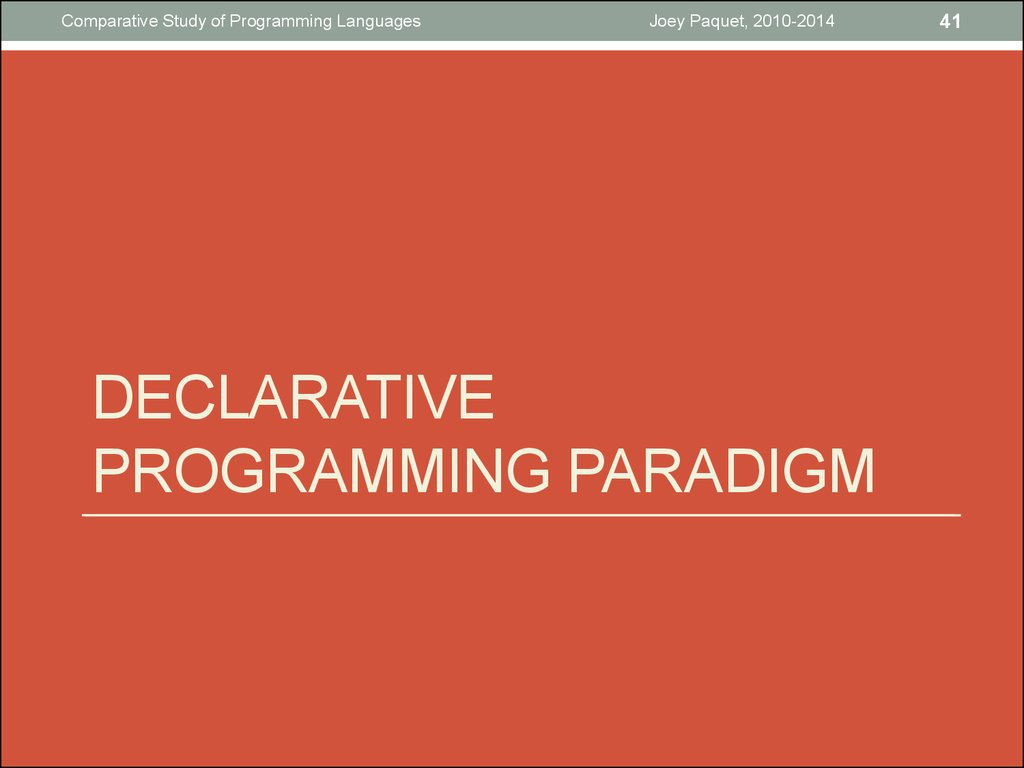 Declarative Programming paradigm