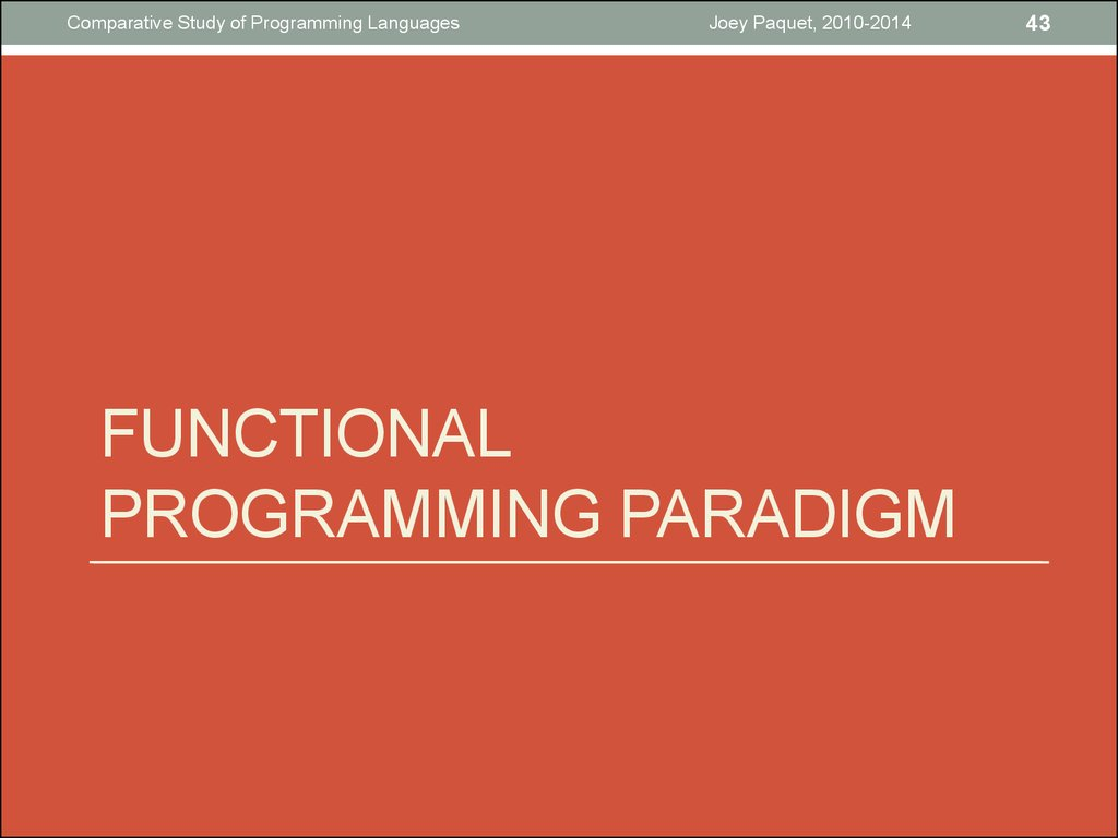 Functional programming paradigm