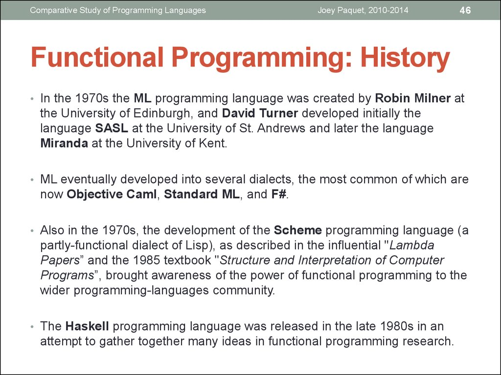Functional Programming: History