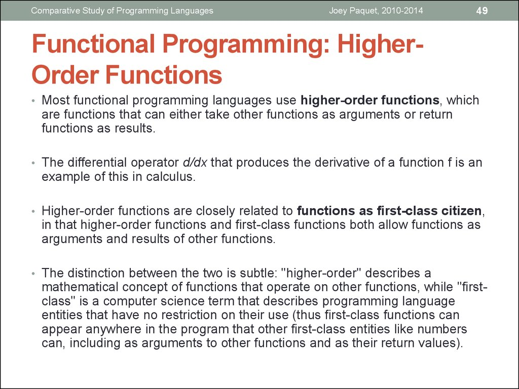 Functional Programming: Higher-Order Functions