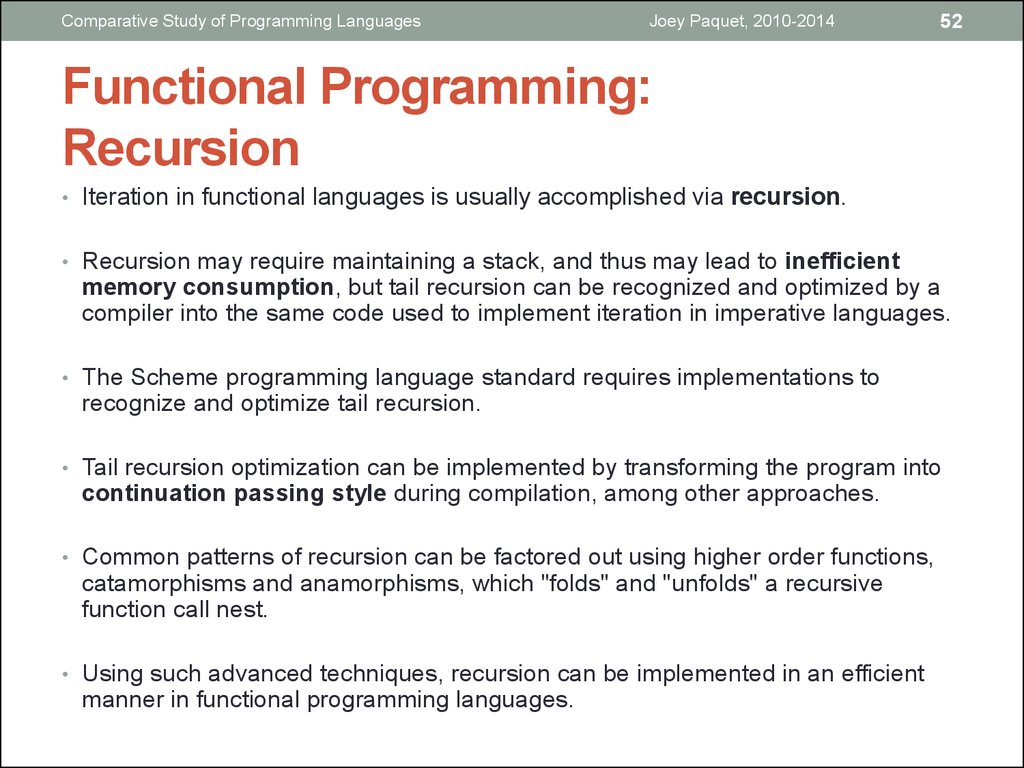 Functional Programming: Recursion