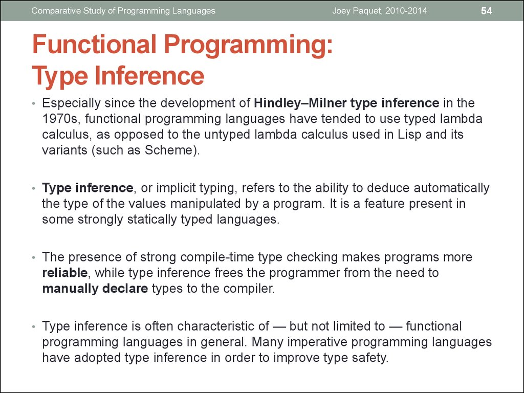 Functional Programming: Type Inference