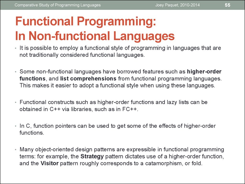 Functional Programming: In Non-functional Languages