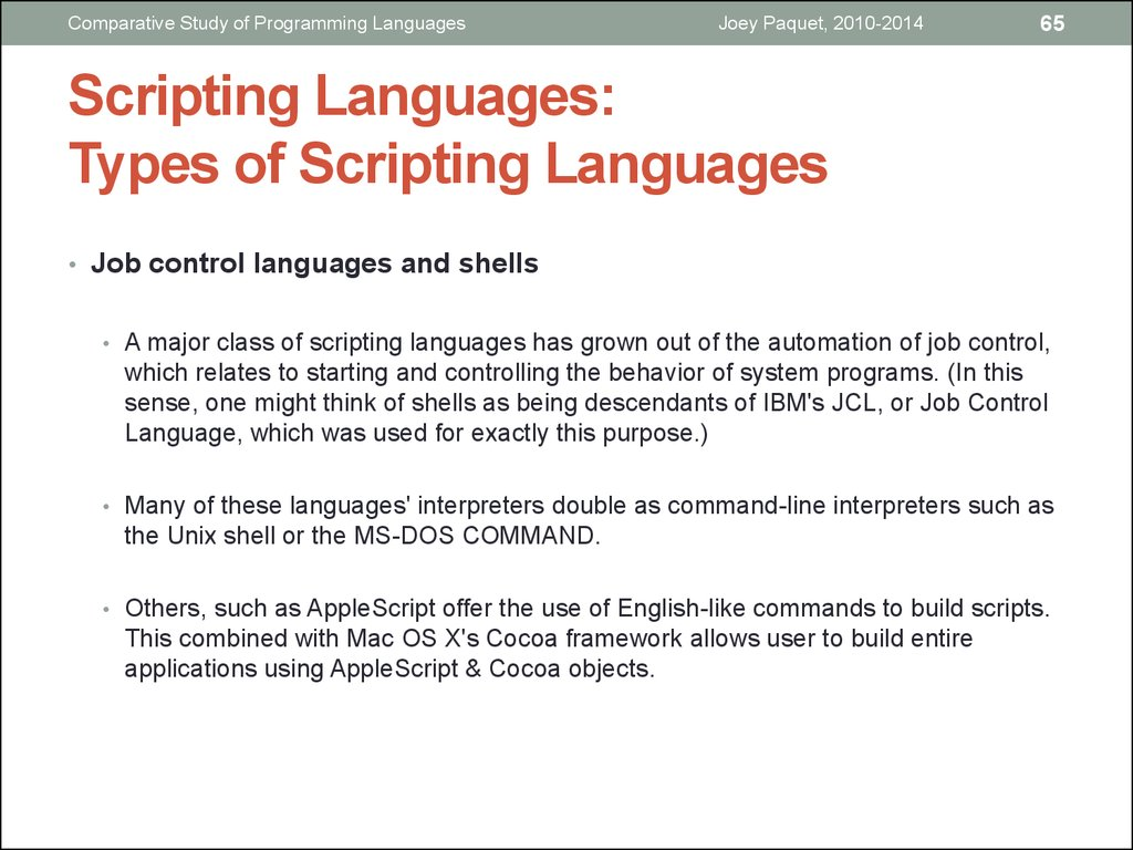 Scripting Languages: Types of Scripting Languages