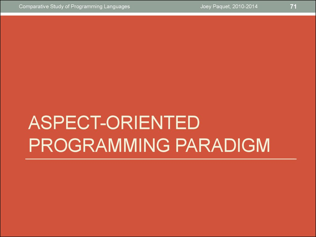 Aspect-oriented programming paradigm