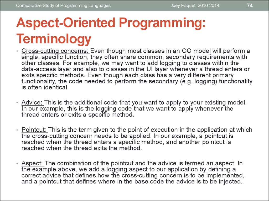 Aspect-Oriented Programming: Terminology