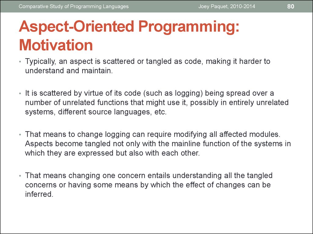 Aspect-Oriented Programming: Motivation