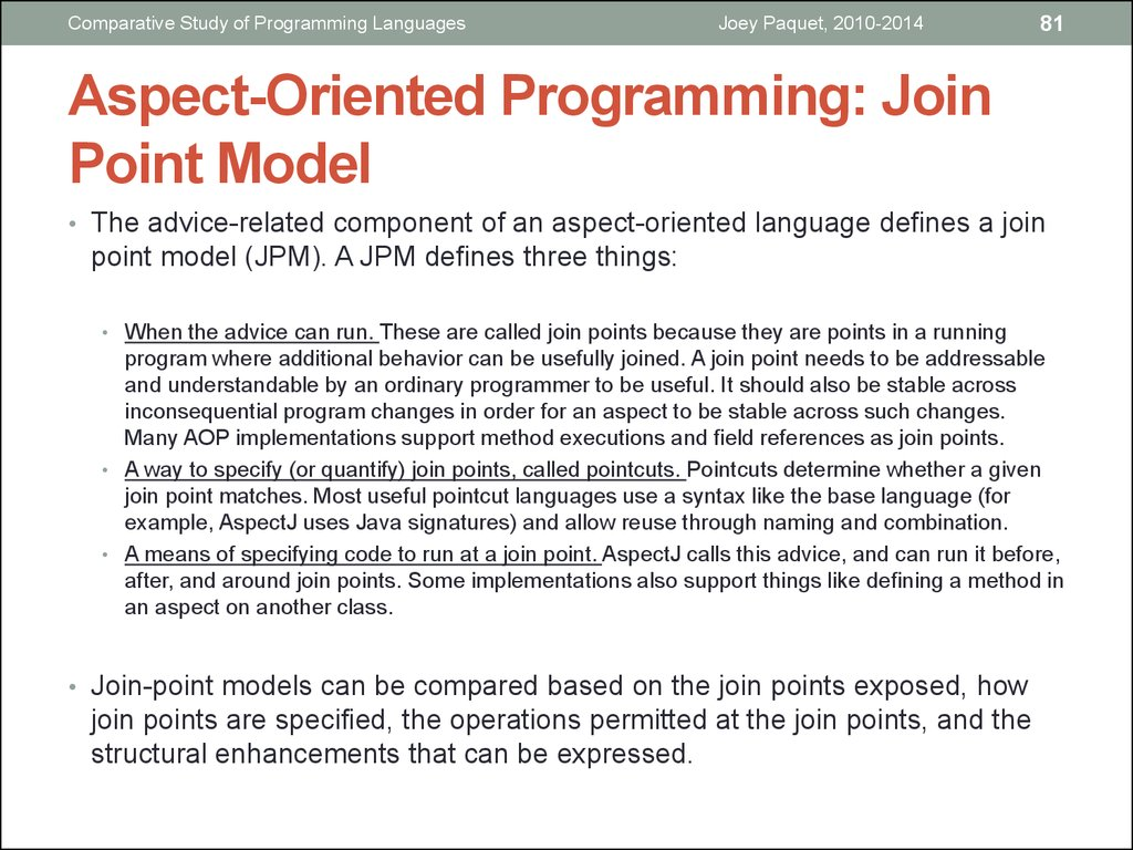 Aspect-Oriented Programming: Join Point Model