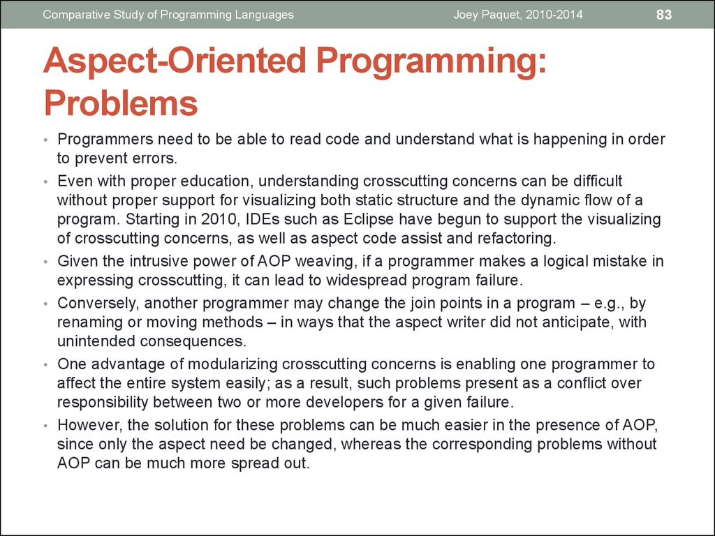Aspect-Oriented Programming: Problems