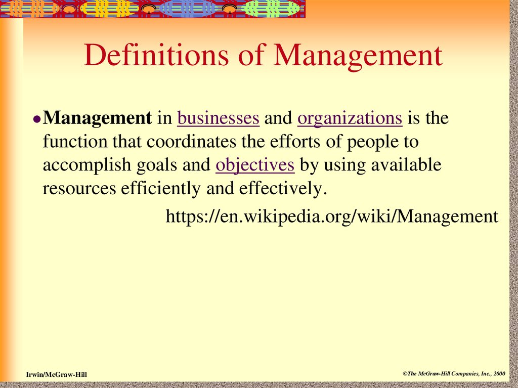 definition of function of management Staffing is the function by which managers build an organisation through the recruitment, selection, and development of individuals as capable employees controlling - management principles the managerial function controlling always maximise the use of scarce resources to achieve the purposeful behaviour of employees in an organisation.