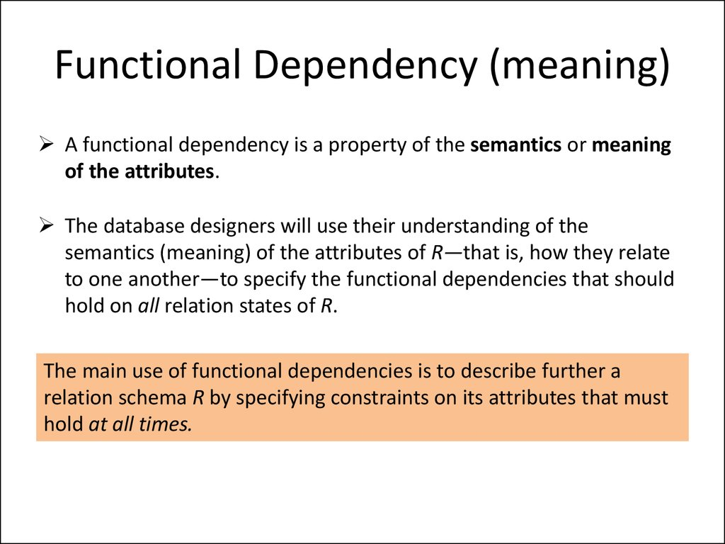 Functional Dependency (meaning)