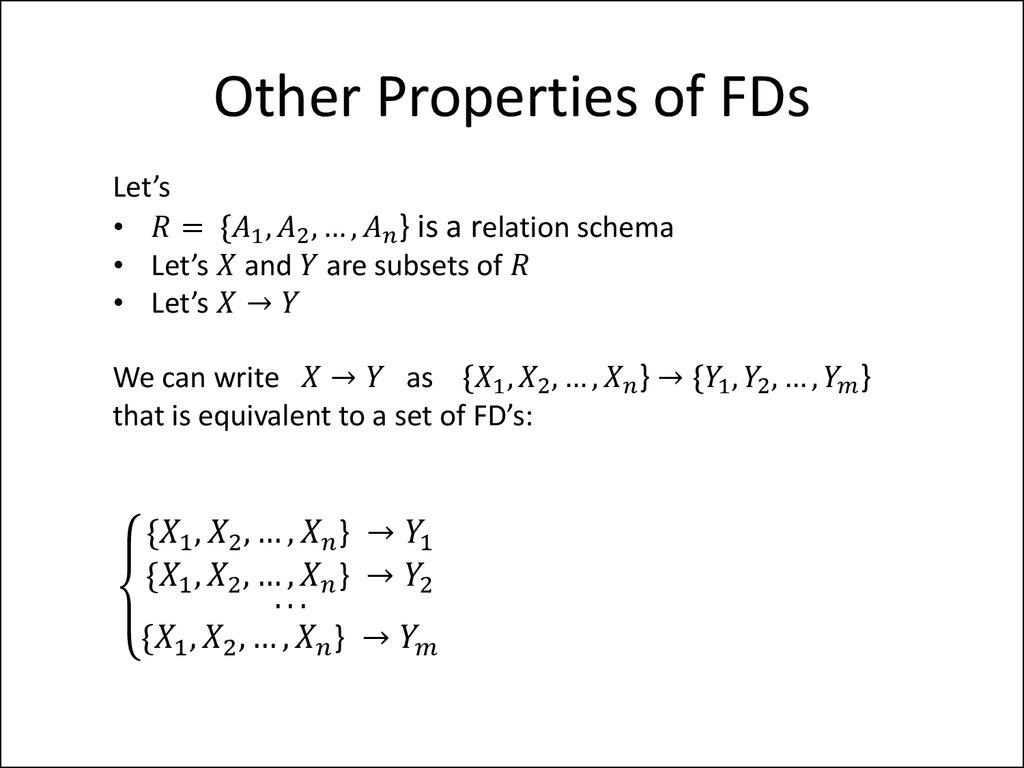 Other Properties of FDs