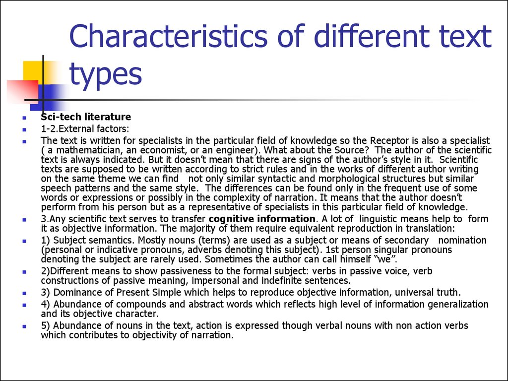 Characteristics of different text types