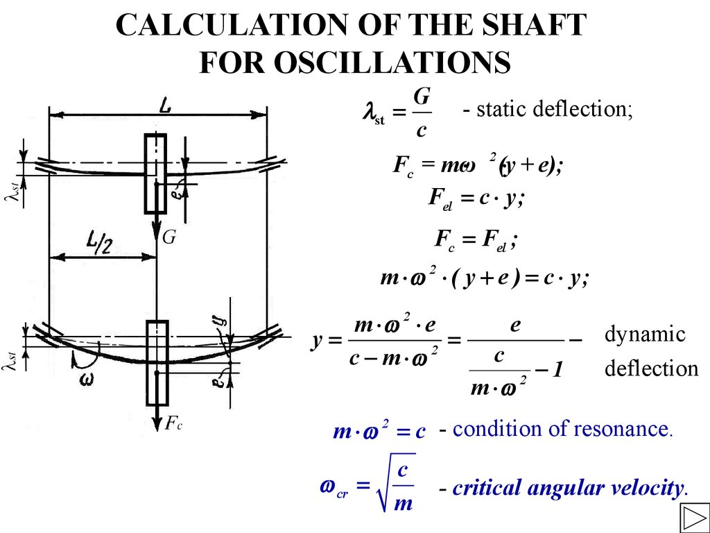 CALCULATION OF THE SHAFT FOR OSCILLATIONS