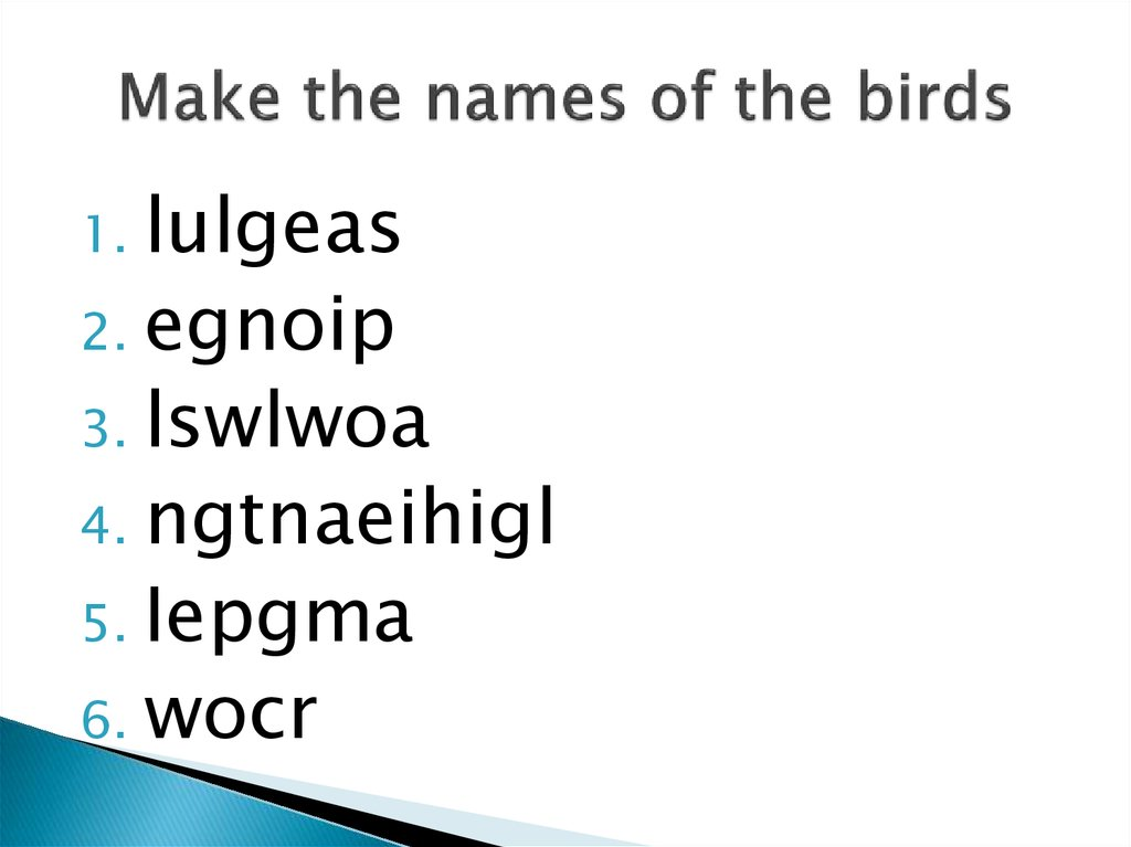 Make the names of the birds