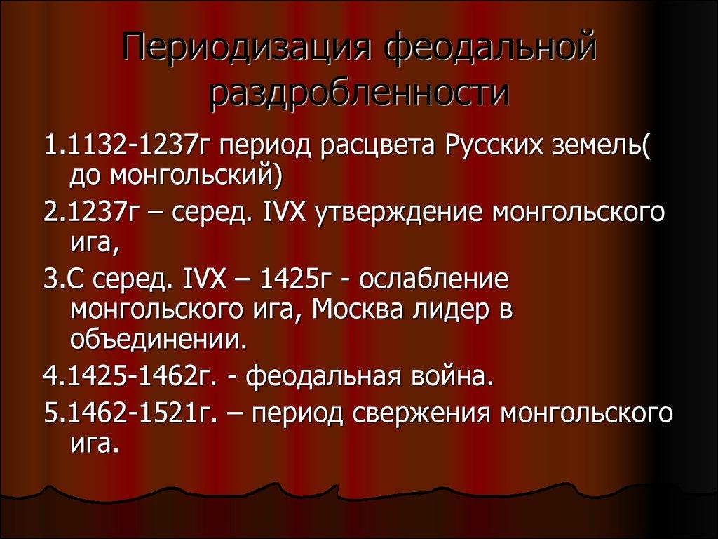 Шпаргалка. русь периода феодальной раздробленности