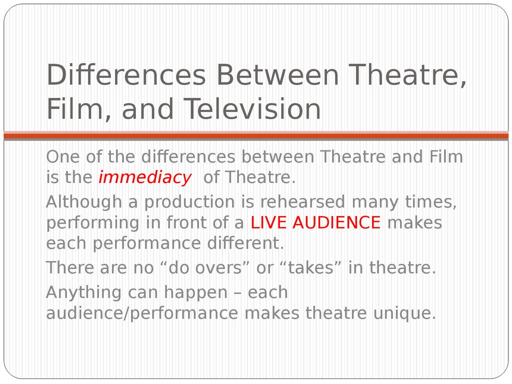 a comparison of the characteristics between a film and a theater In 1960 it was sold to the masses by way of a film entitled elmer gantry difference between high school teachers and [tags: comparison compare/contrast] 579.