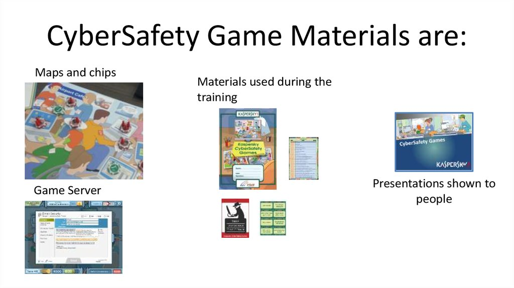 CyberSafety Game Materials are: