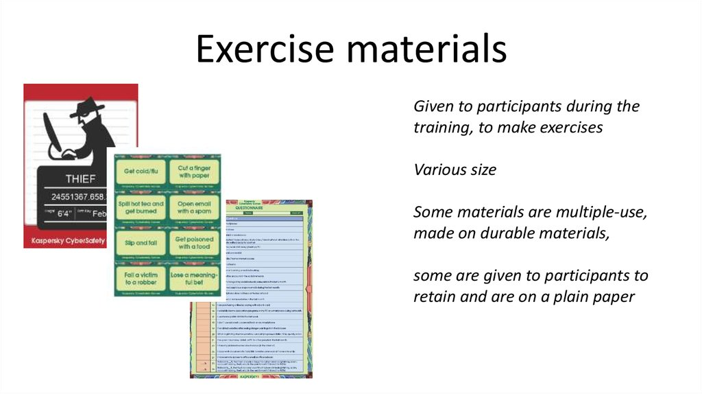 Exercise materials