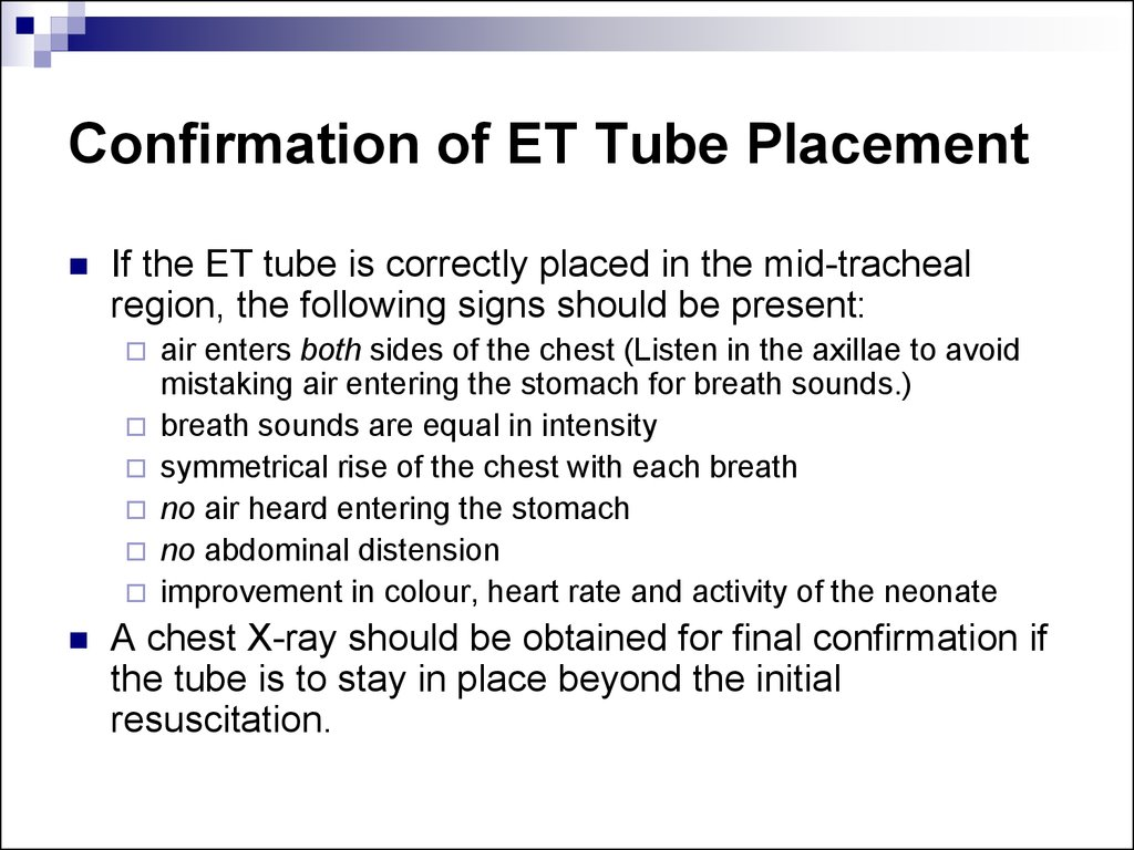 Confirmation of ET Tube Placement