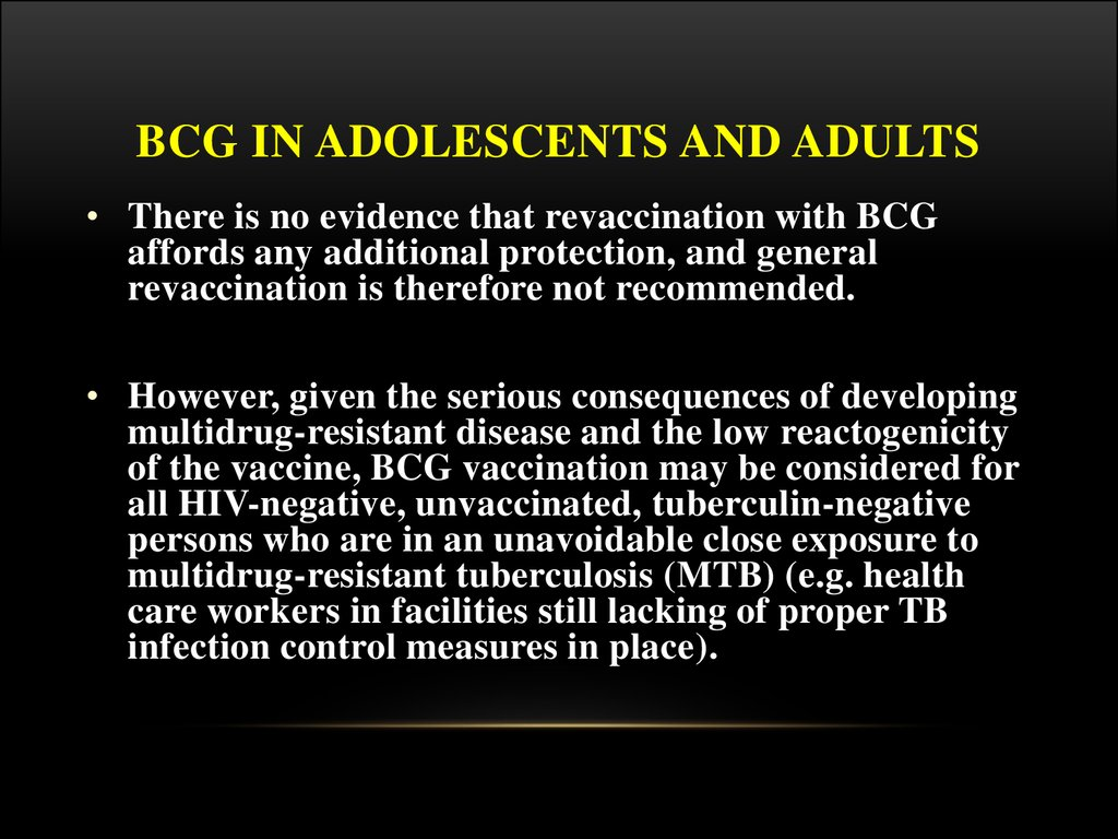 BCG in adolescents and adults