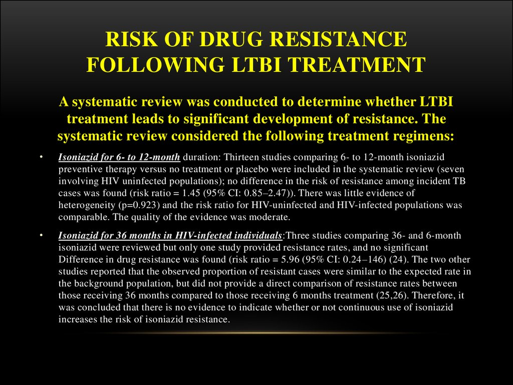 Risk of drug resistance following LTBI treatment
