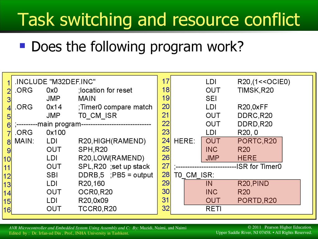 Task switching and resource conflict