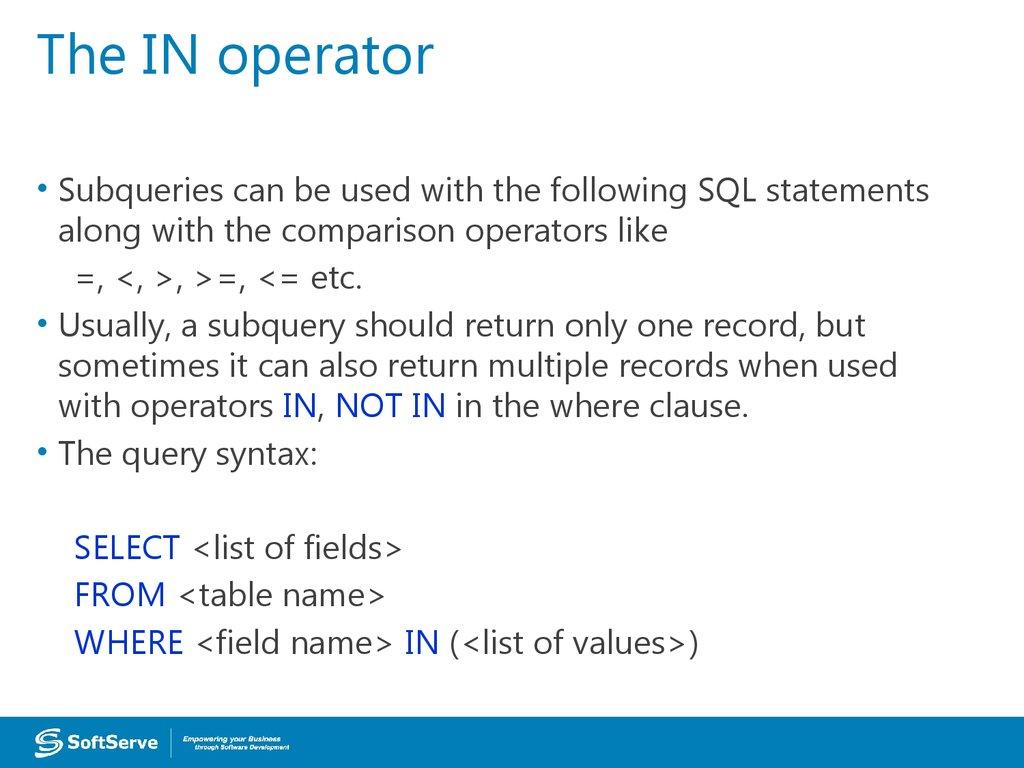 SQL Subqueries - online presentation