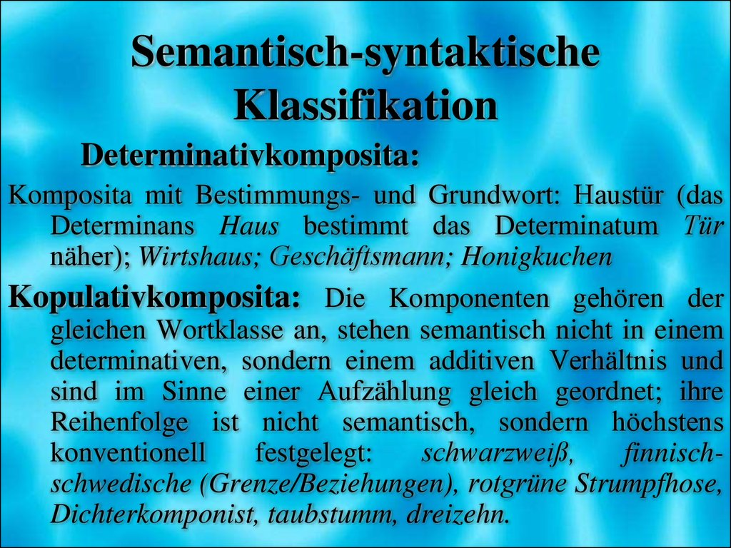 Semantisch-syntaktische Klassifikation
