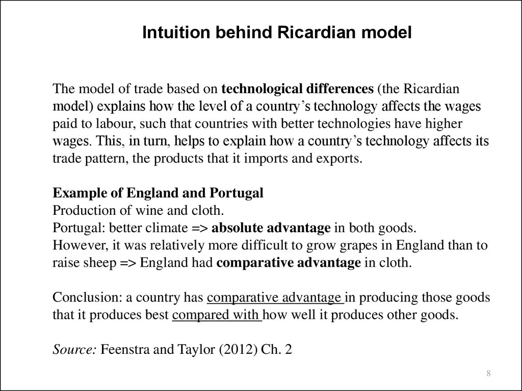 a simplistic view the ricardian model