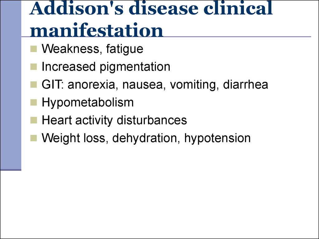 Addison's disease clinical manifestation