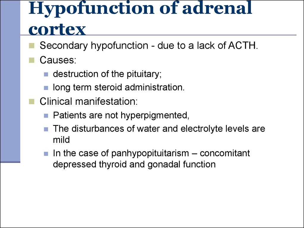 Hypofunction of adrenal cortex