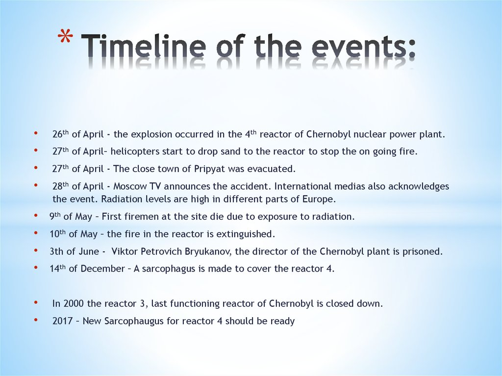 Timeline of the events: