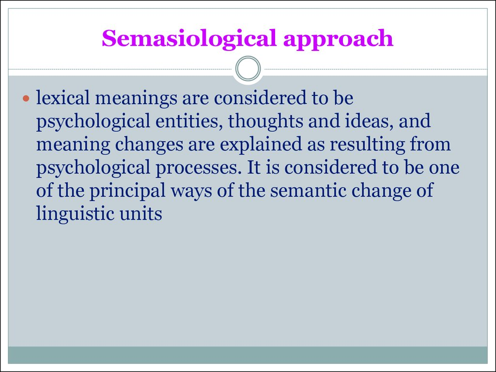 Semasiological approach