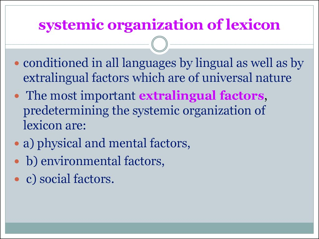 systemic organization of lexicon