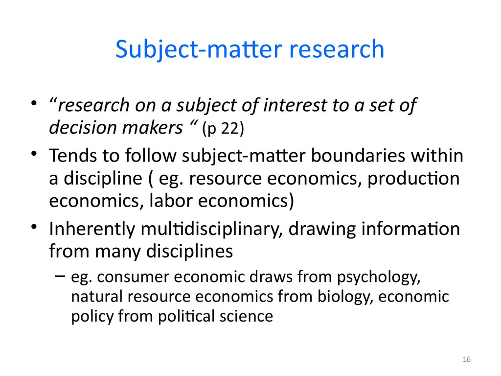 Subject-matter research