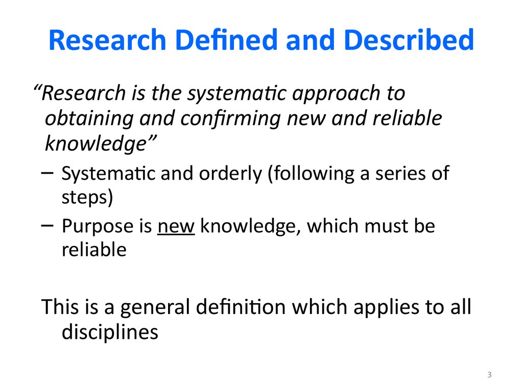 Research Defined and Described
