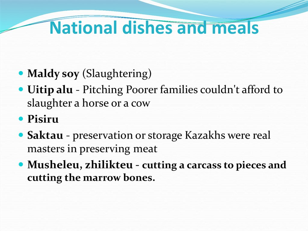 National dishes and meals