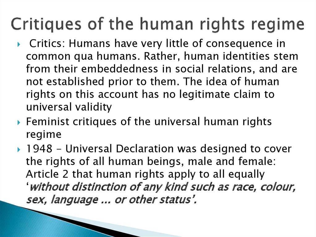 Critiques of the human rights regime
