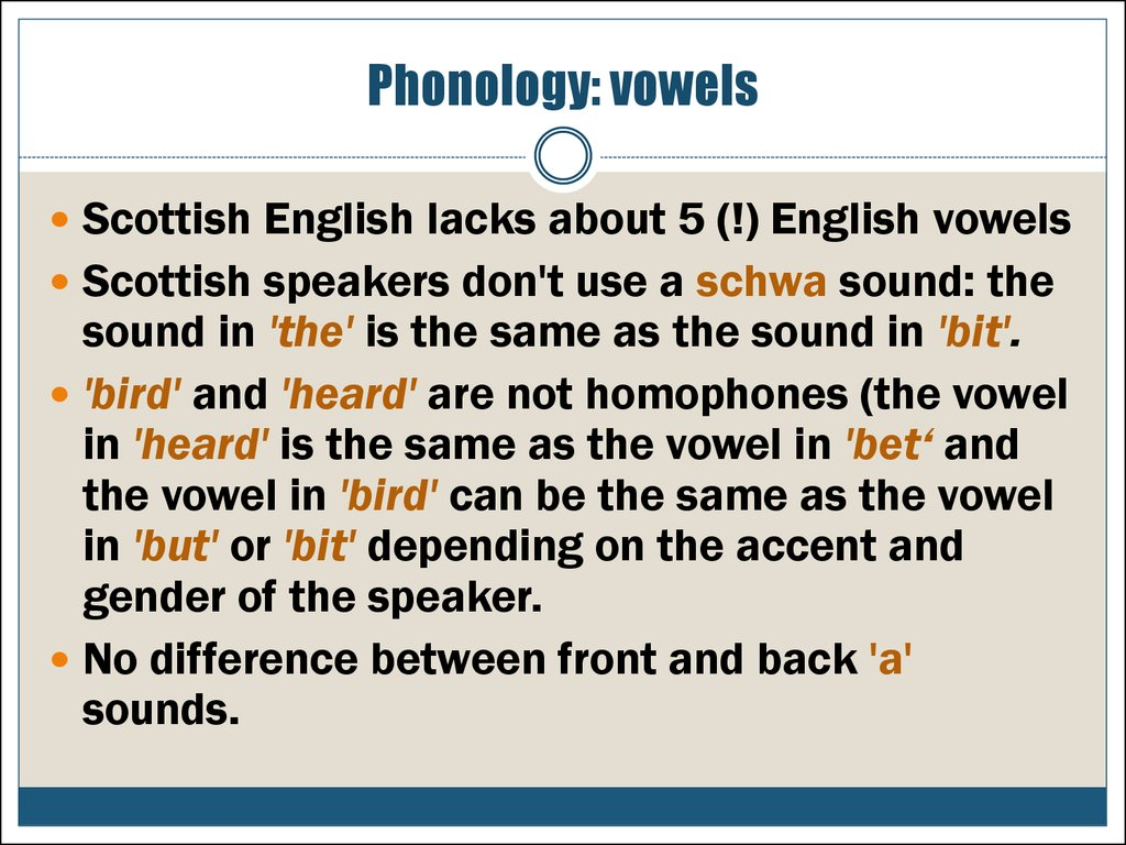 Phonology: vowels