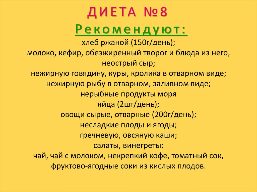 Лечебная Диета Номер 8. Диета 8 стол