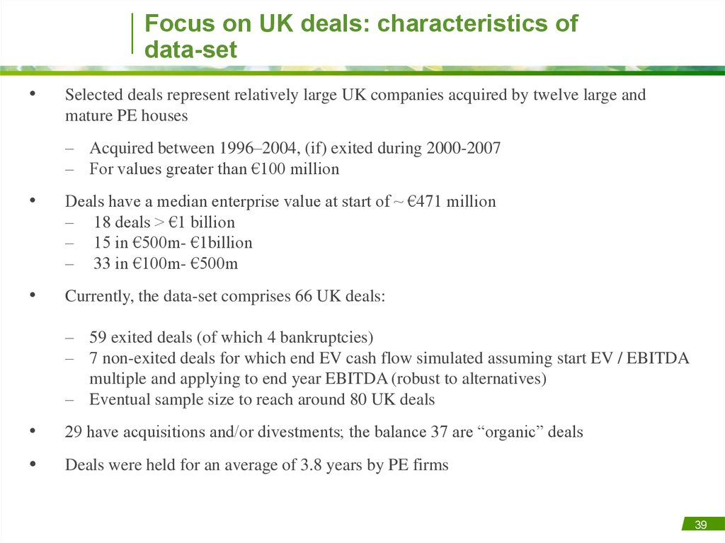 Focus on UK deals: characteristics of data-set