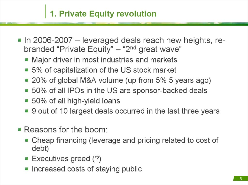 1. Private Equity revolution
