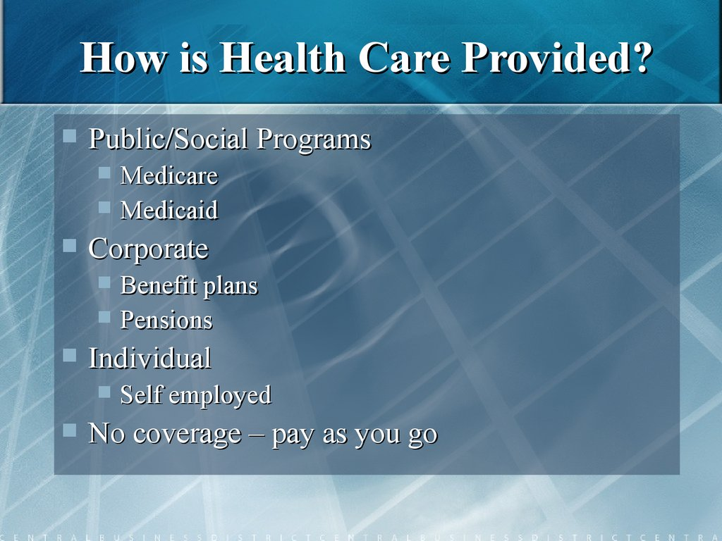 How is Health Care Provided?