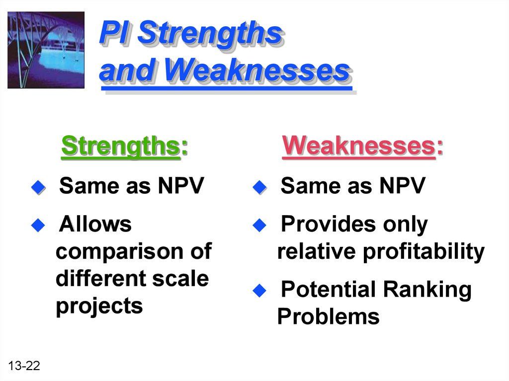 strengths and weaknesses of the payback method of ranking project proposals Projected future benefits and costs with regards to capital project proposals   methods are: accounting rate of return, (arr), payback, net present value   cost of the capital invested and to rank competing projects via their irrs in such  that  disadvantages of the irr have often been overestimated while its benefits  are.