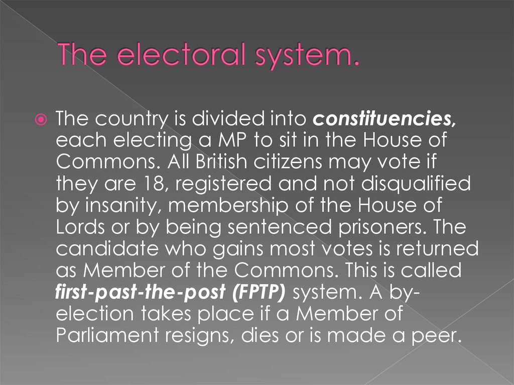 The electoral system.