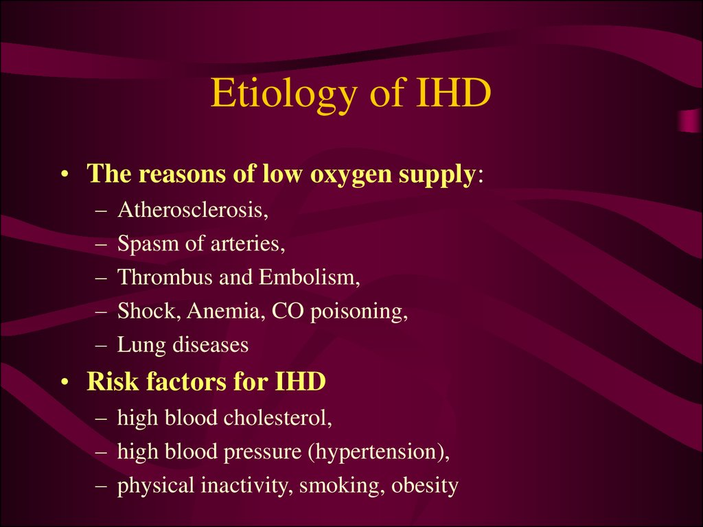 Etiology of IHD
