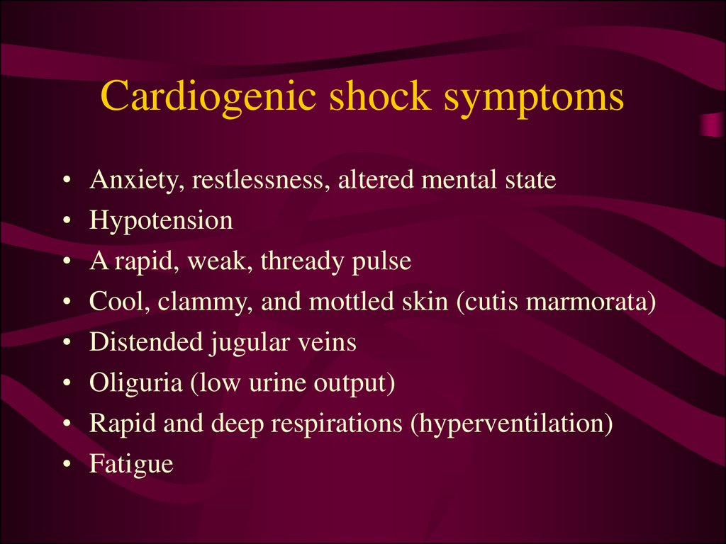 Cardiogenic shock symptoms