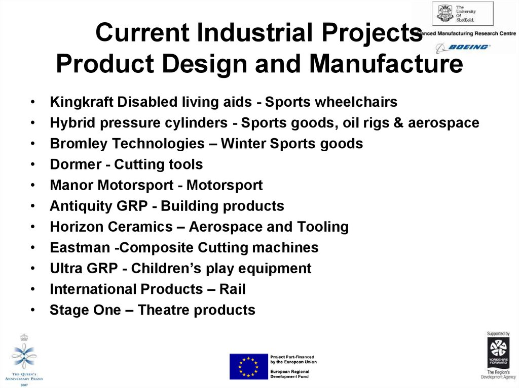 Current Industrial Projects Product Design and Manufacture